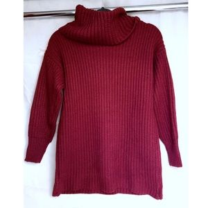 Chunky Red Knit Turtleneck Sweater